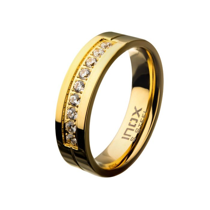 Gold PVD Plating Polished Steel Comfort-Fit Band with CZ's in Bead Channel Setting Ring