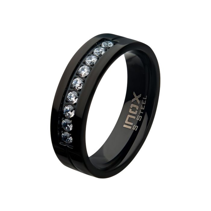 Black PVD Plating Polished Steel Comfort-Fit Band with CZ's in Bead Channel Setting Ring
