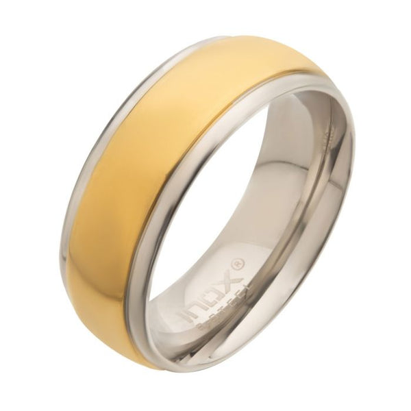 Steel & Gold Plated Patterned Design Ring