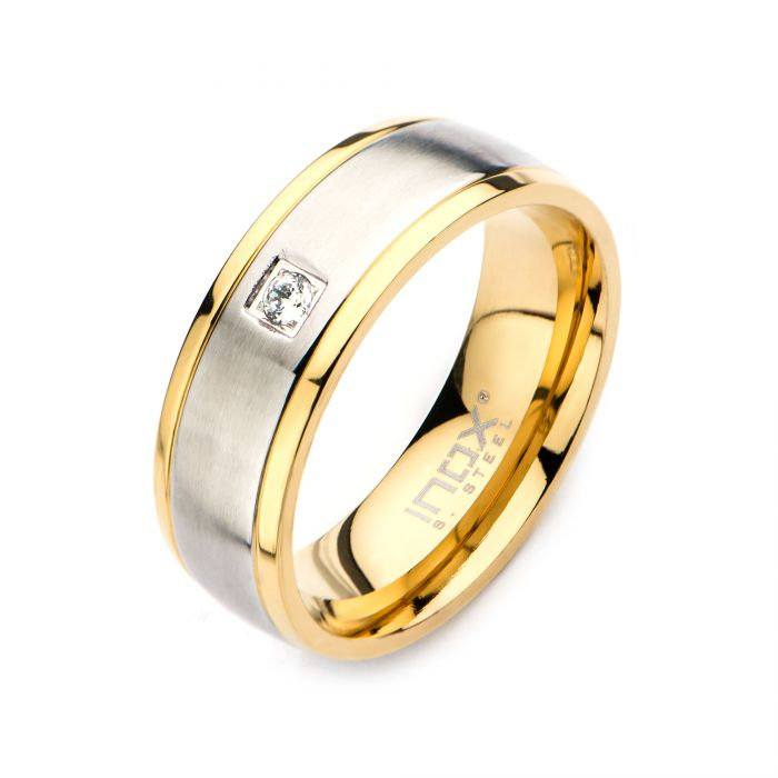 Steel and Gold Plated with Clear CZ Polished Ring