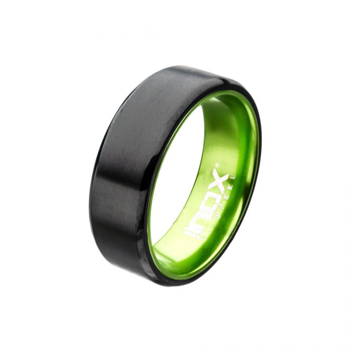 Green, Steel, Black Plated Aluminum Flat Ring