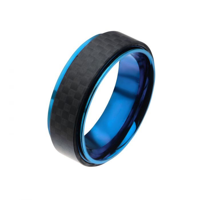 Blue Plated and Solid Carbon Fiber Ring