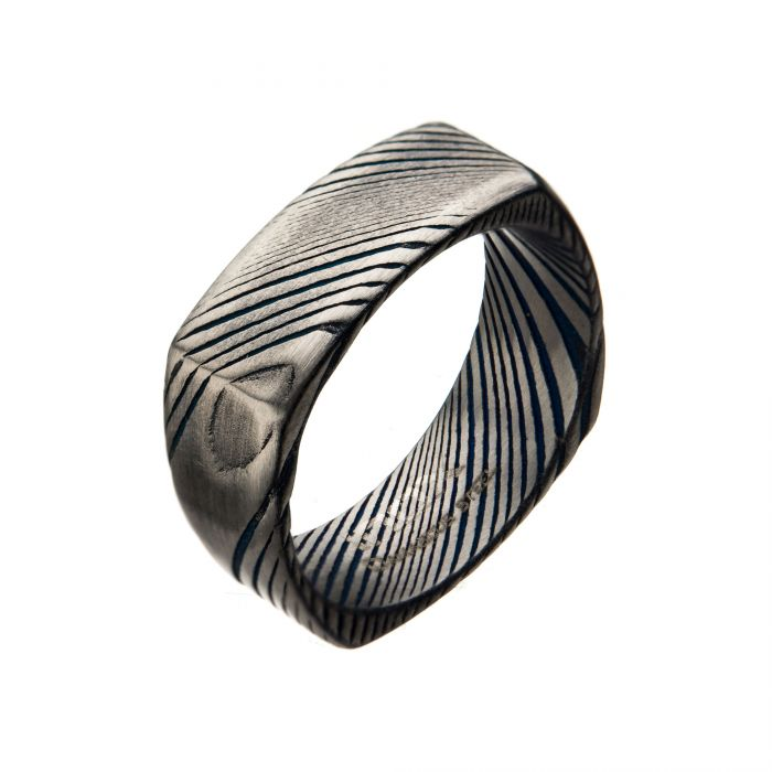 Damascus 8mm Matte Blue Plated Square Ring