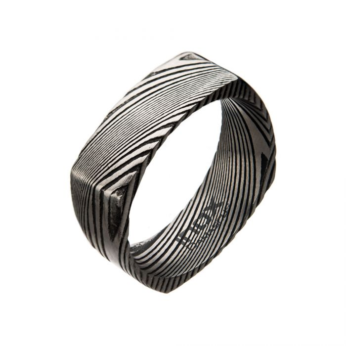 Damascus 8mm Matte Black Plated Square Ring