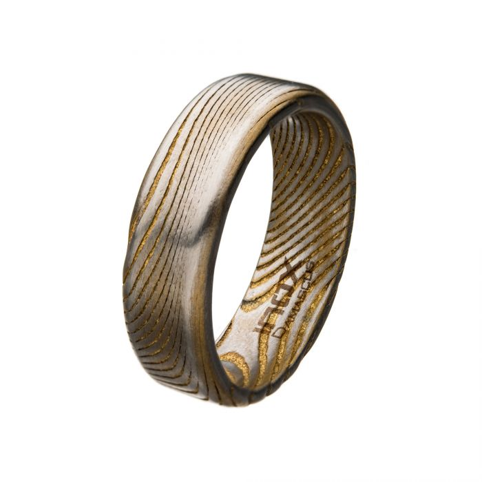 Damascus 7mm Matte Gold Plated Band Ring