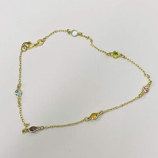 Gold Multi Color Stone Anklet
