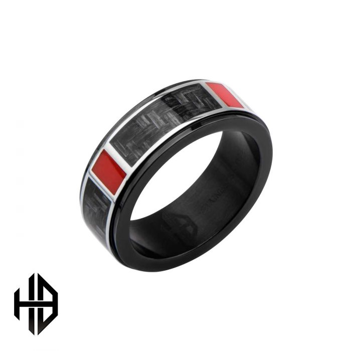 Hollis Bahringer Black Plated with Carbon Fiber Weave Ring