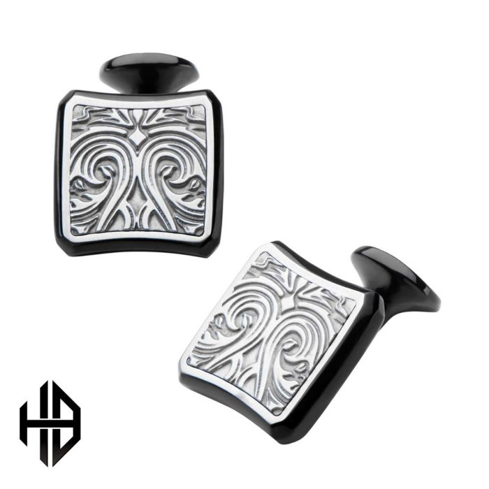 Hollis Bahringer Black Plated Stainless Steel Bold Ornate Texture Cuff Links