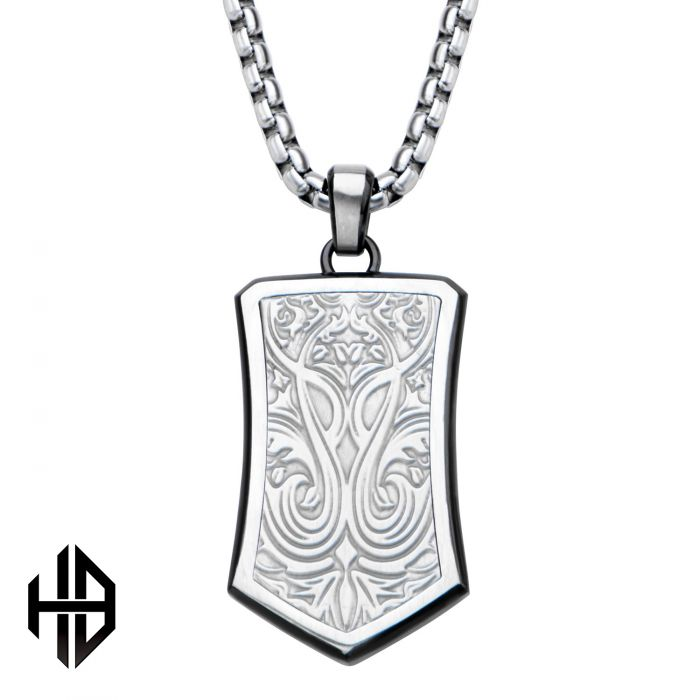 Hollis Bahringer Black Plated Stainless Steel Bold Ornate Texture Dog Tag Pendant with Chain