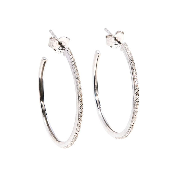 Head Turning Medium Hoop Earrings - Silver