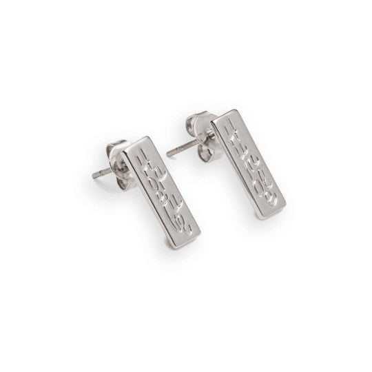 Humble/Hopeful ID Earring, Silver