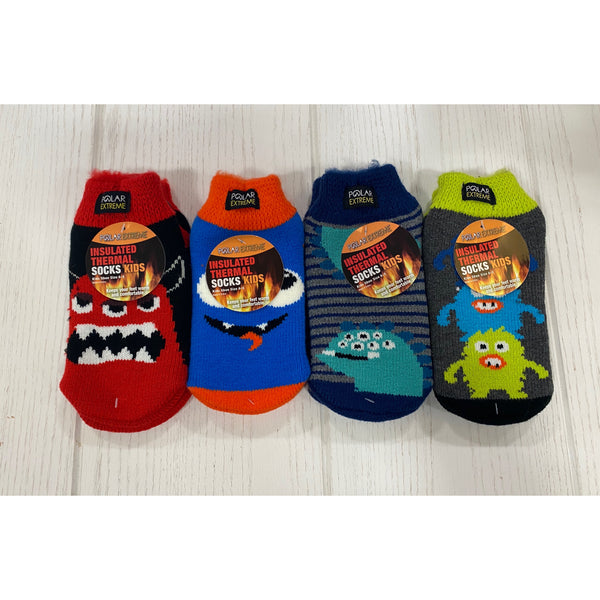 Polar Extreme Insulated Thermal Socks Kids Size 6-3 - Assorted Monsters