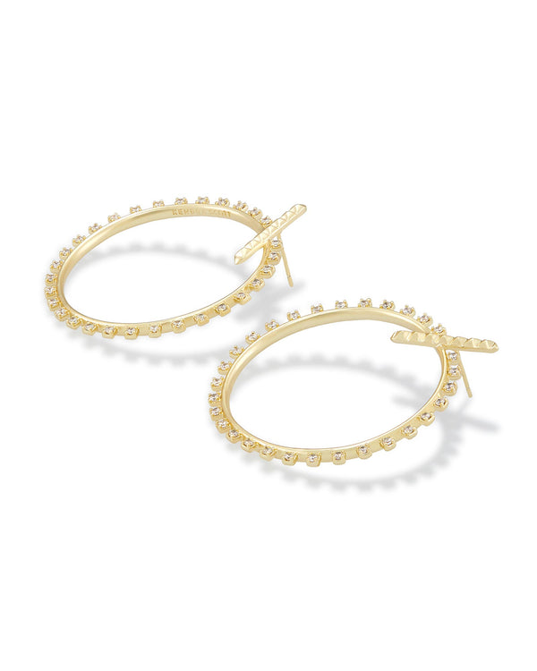 CHARLIE GRACE EARRING GOLD METAL WHITE CZ