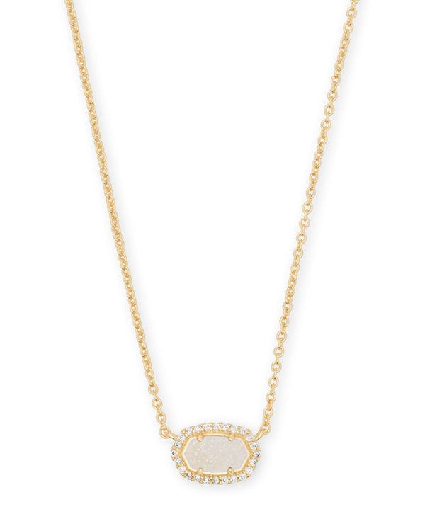 Chelsea Necklace Gold Iridscnt Druzy CZ