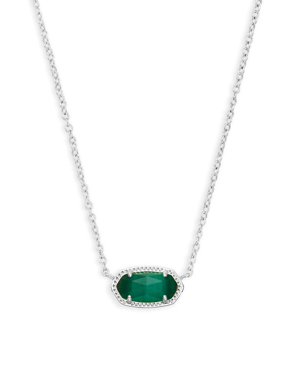Elisa Necklace Rhod Emerald Cats Eye