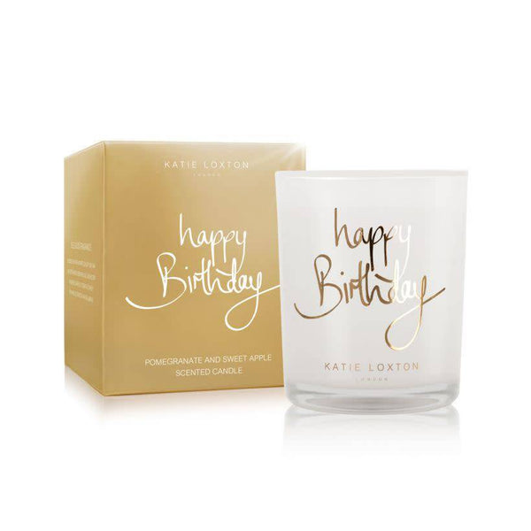 Happy birthday -  Pomegranate and sweet apple - small metallic gold written word candle