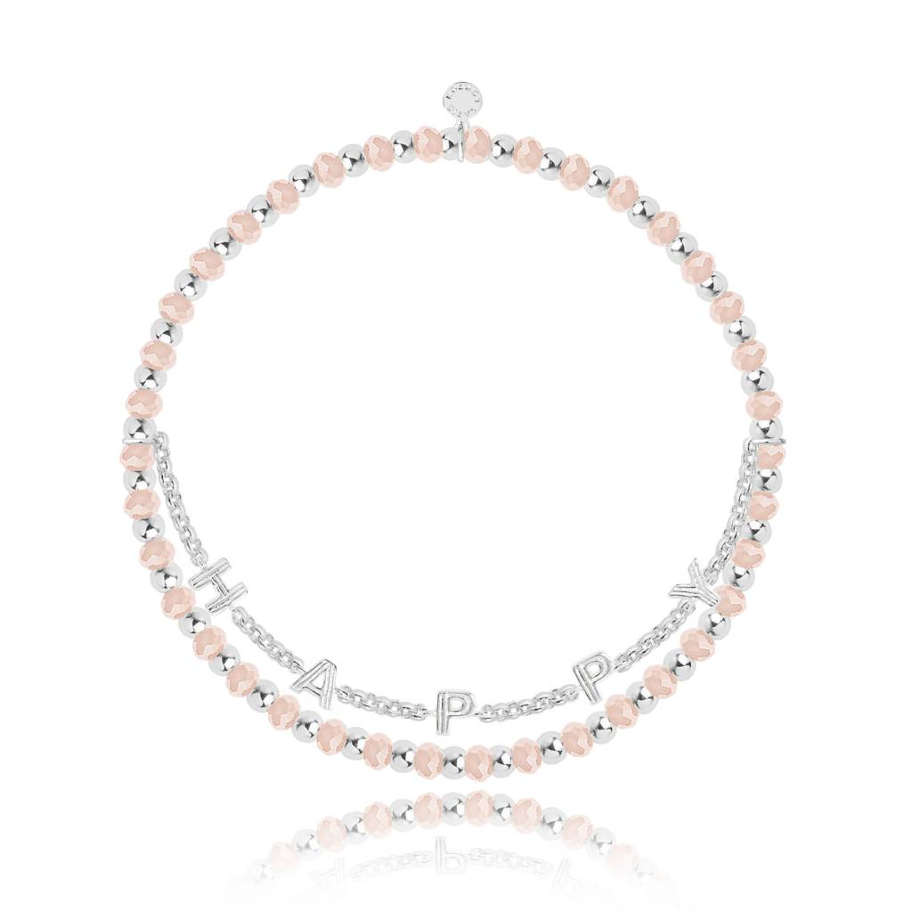 Icon - Happy - Peach Crystal and Silver Chain Bracelet