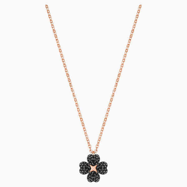 Latisha Flower Pendant, Black, Rose-gold tone plated