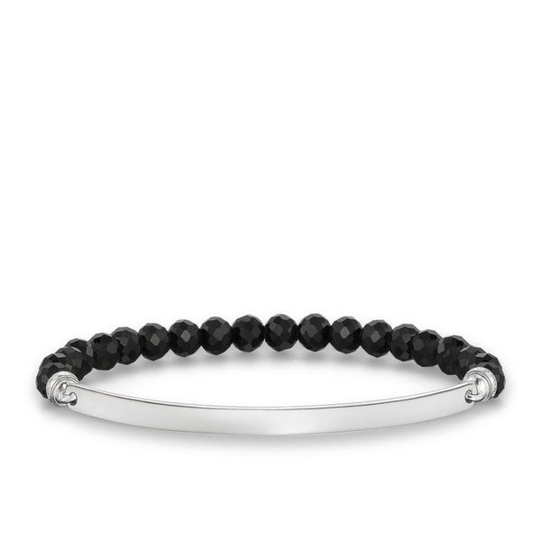 Love Bridge Black Beaded Stretch Bracelet