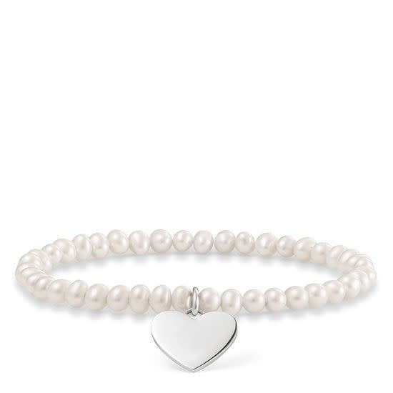 Pearl Stretch Love Bridge Bracelet w/ Solid Heart Charm