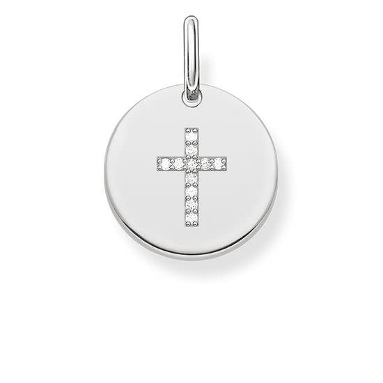 Pendant, Silver Circle w/ Cross CZ