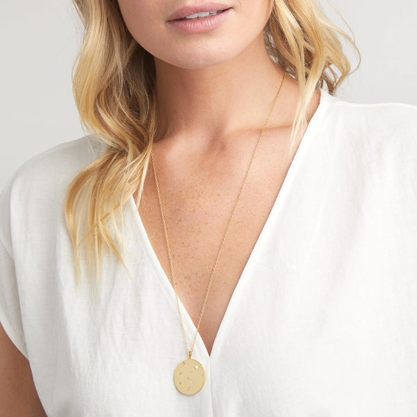 Luna Coin Pendant Necklace Gold-White Opalite