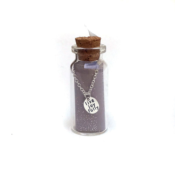 Live Joyfully Message in a Bottle Necklace