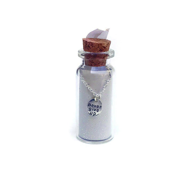 Never Give Up Message in a Bottle Necklace