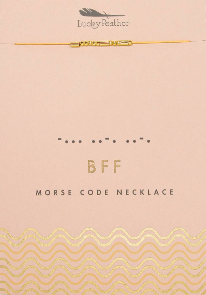 Morse Code Necklace, Gold, Bff