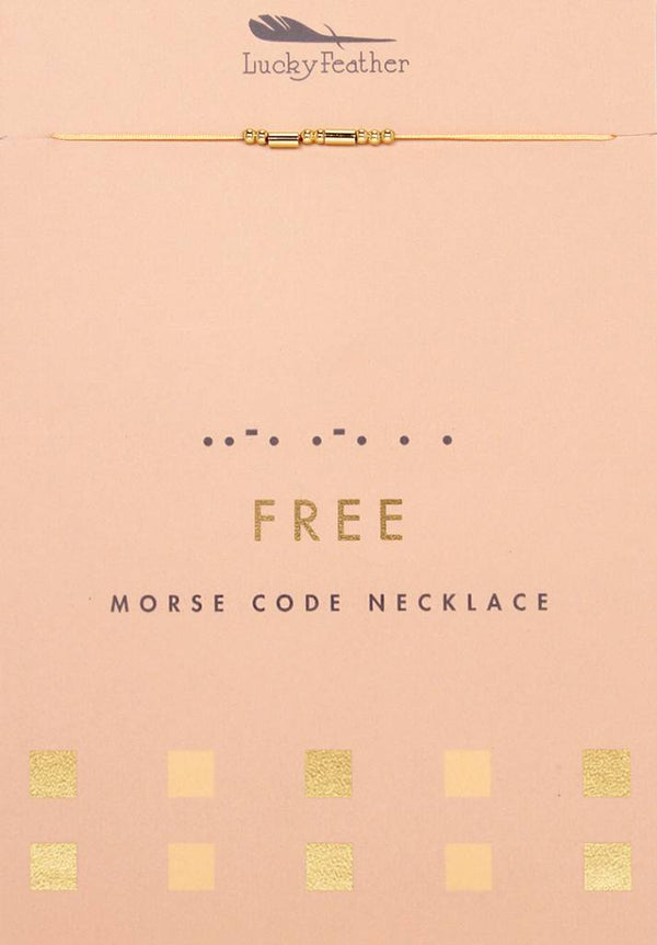 Morse Code Necklace, Gold, Free