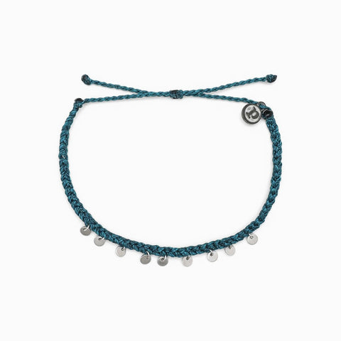 Silver Mini Coin Anklet - Teal