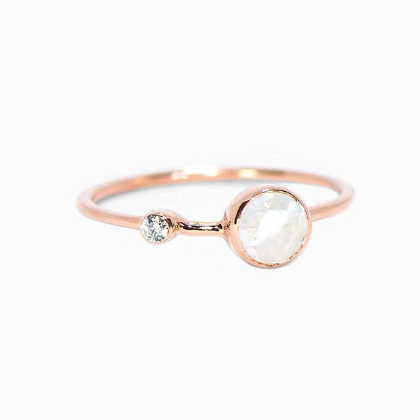 Moonstone Double Stone Ring in Rose Gold