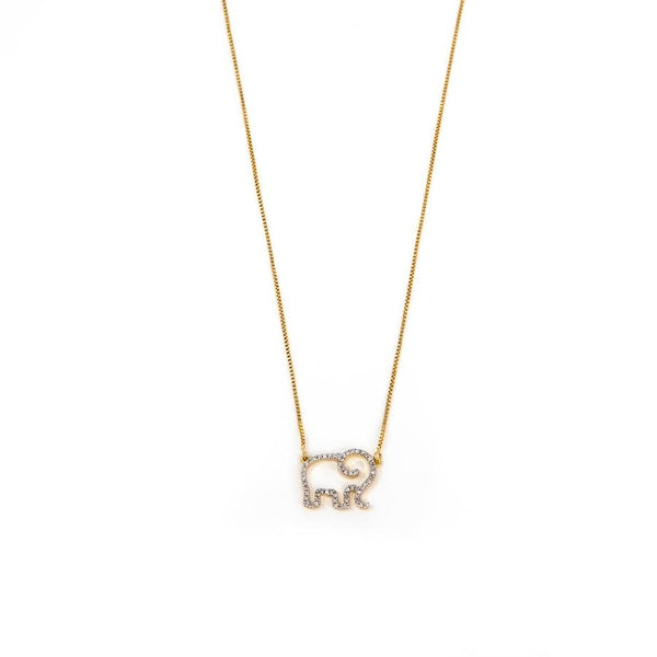 Elephant Mom Necklace - Gold
