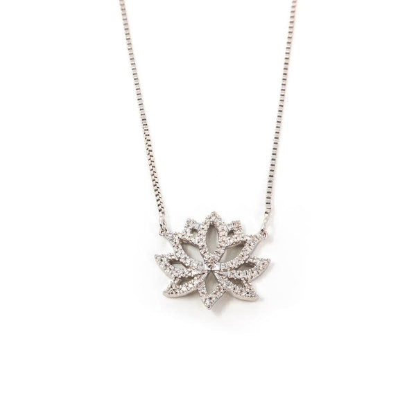 Blooming Lotus Necklace - Silver