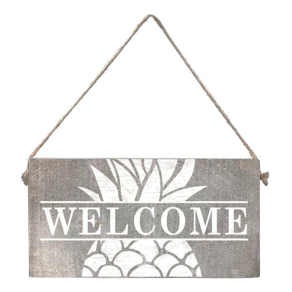 Mini Plank - Welcome Pineapple - Grey Wash, White