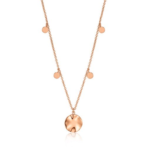 Rose Gold Ripple Drop Discs Necklace