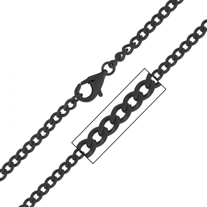 Black Plated Flat Curb Chain 4mm