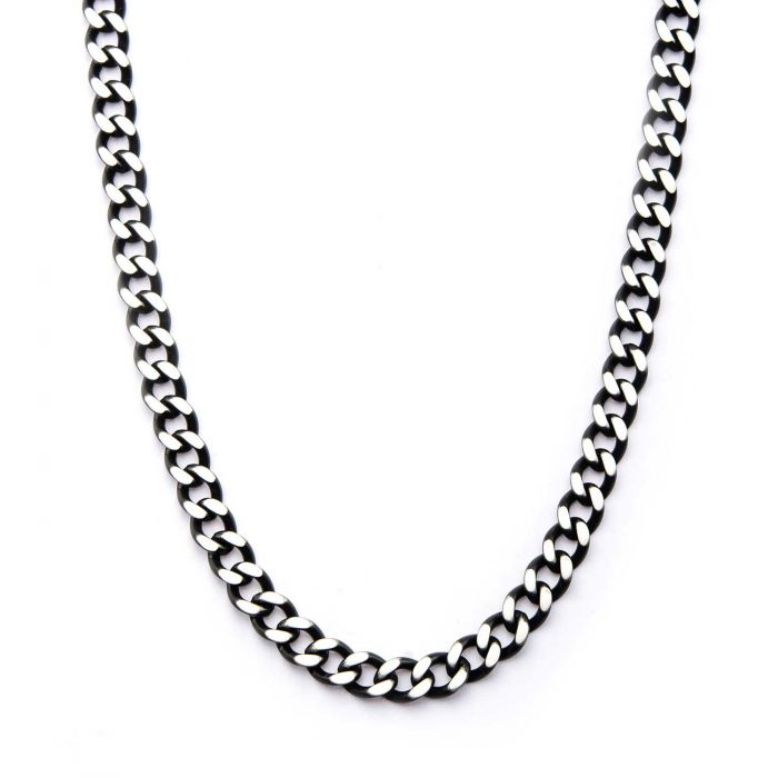 Black Plated Diamond Cut Chain Necklace