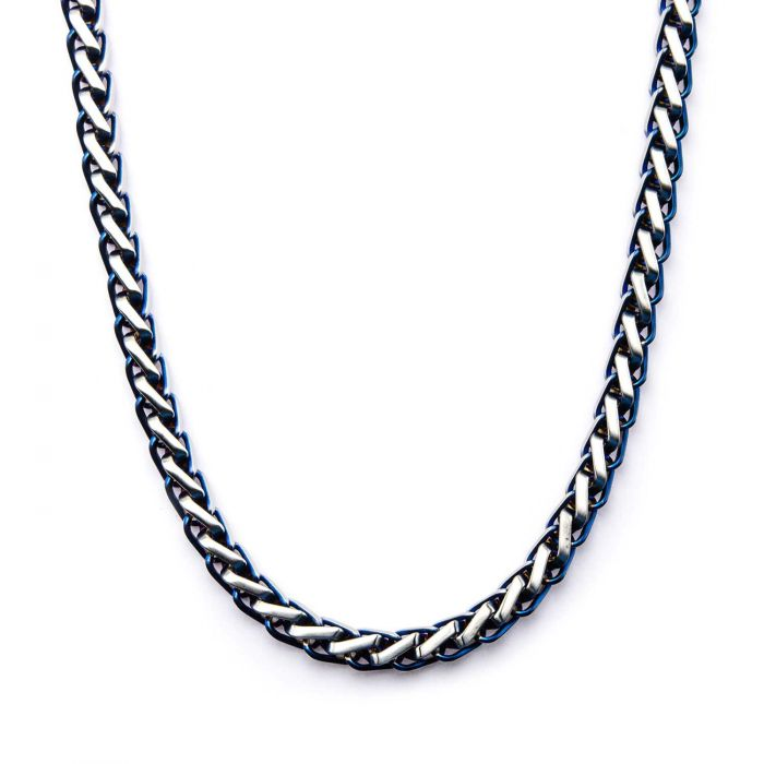 Steel Blue Plated Rounded Franco Chain Necklace