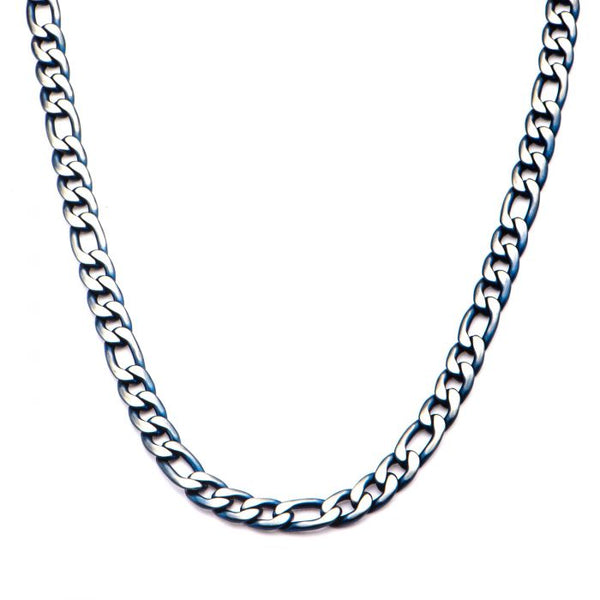 3mm Blue Plated Figaro Chain Necklace