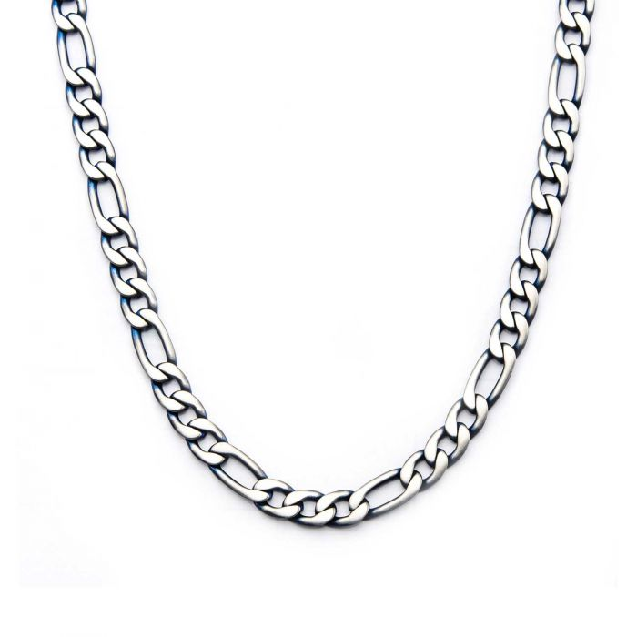 Steel Blue Plated Figaro Chain Necklace