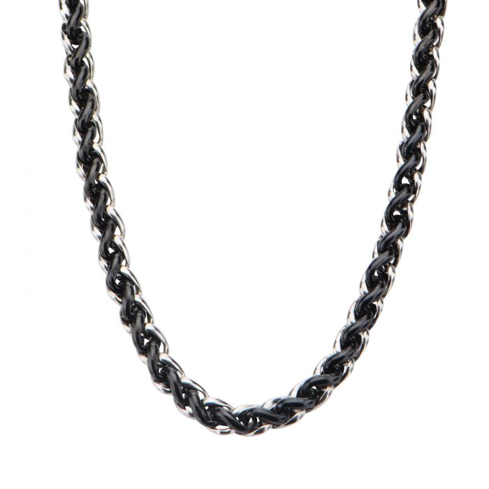 Steel and Black Plated Wheat Chain Necklace 7.1