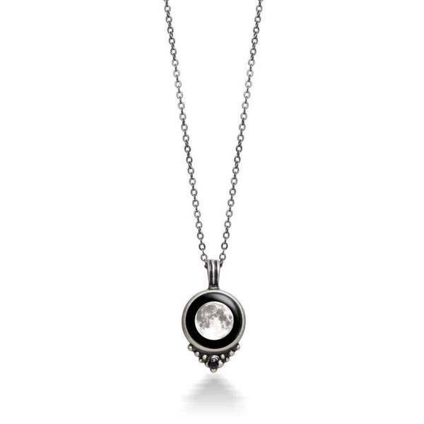 Oxidized Classic Necklace w/ Black Swarovski - New Moon - NL
