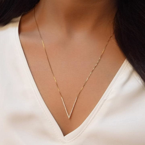 Sterling Silver V Triangle Necklace