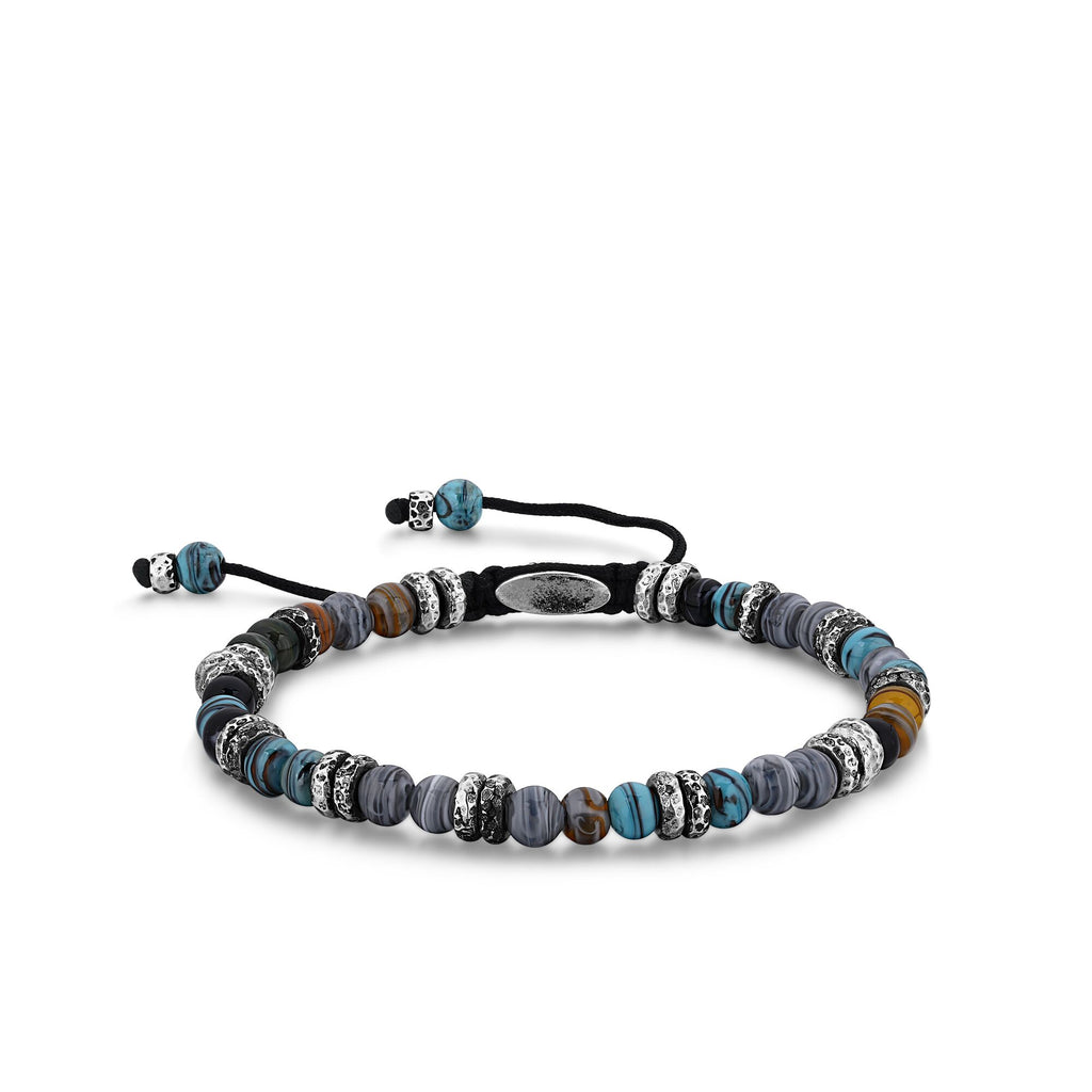 BRANTON | Blue-Grey Murano Glass Beaded Bracelet