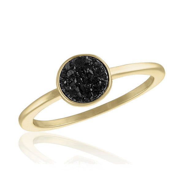 Black Circle Druzy Gold Layers Ring