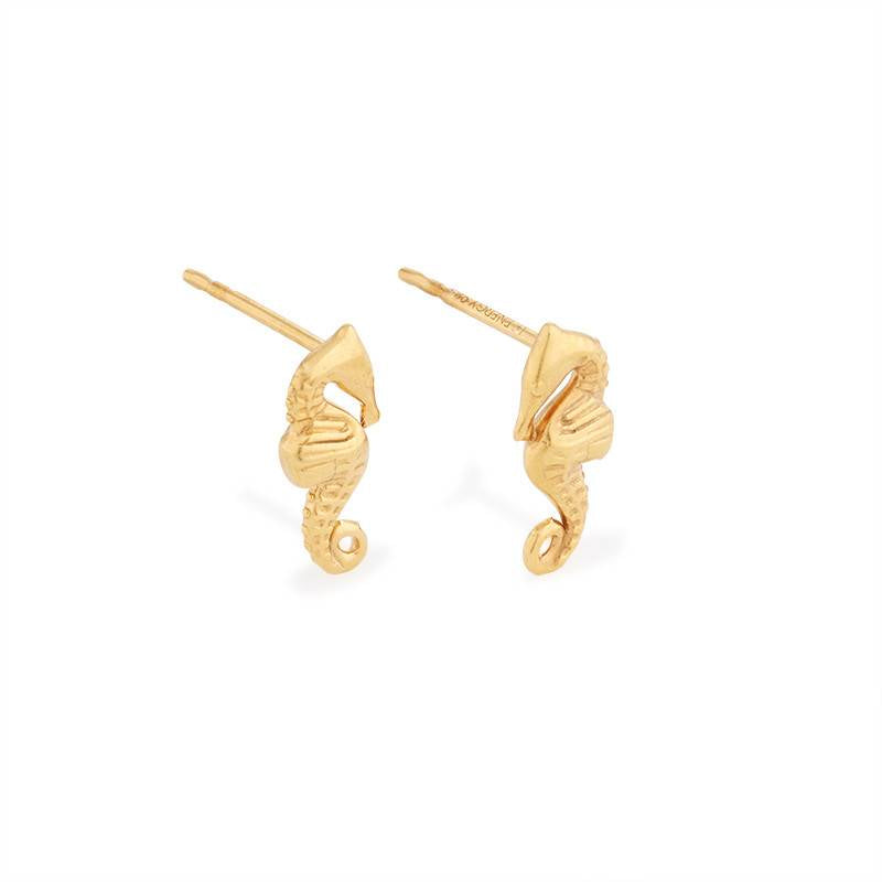 Providence Post Earrings, Seahorse, 14Kt Gold Plated