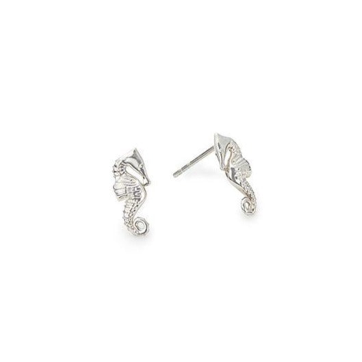 Providence Post Earrings, Seahorse, Sterling Silver