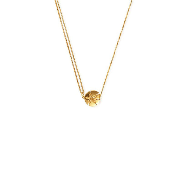 Providence Pull Chain Necklace, Sand Dollar, 14Kt Gold Plated