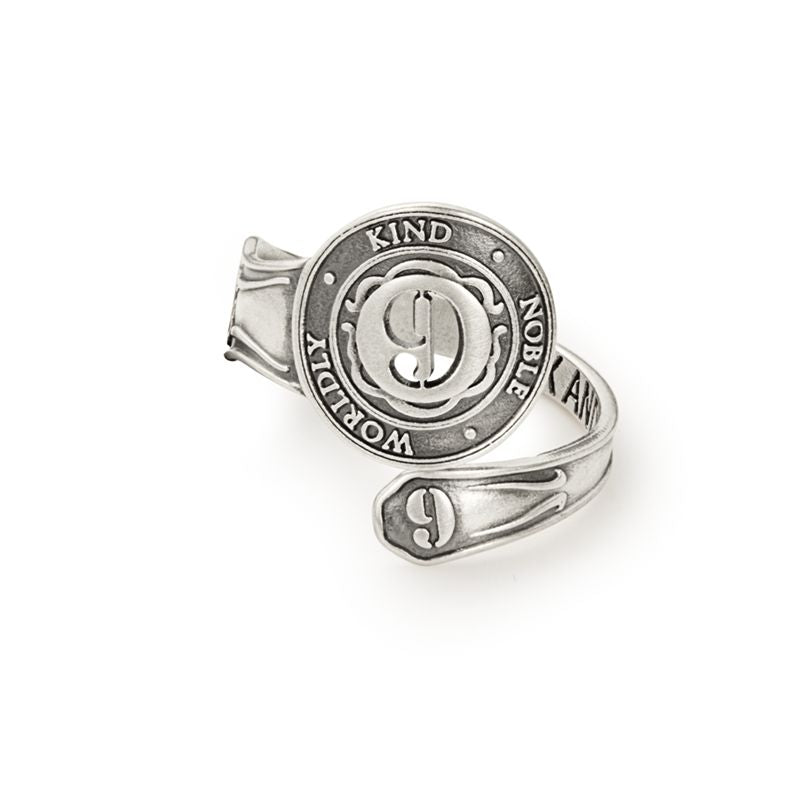 Spoon Ring, Number Nine, Sterling Silver